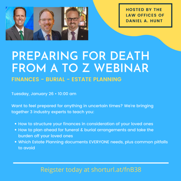 """An event graphic for """"Preparing for Death from A to Z Webinar"""""""