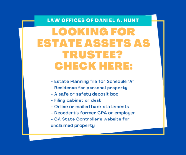 A list of places to check for trust assets as a trustee