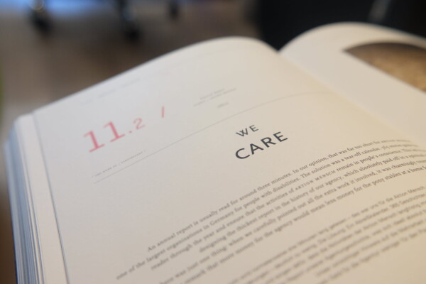 A book is open with text visible